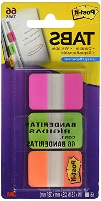 Post-it Tabs with On-the-Go Dispenser, 1-Inch Solid, Pink,