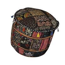 Indian Patchwork Decorative Designer Ottoman Footstool Cover
