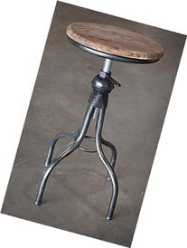 Industrial Glam Metal Stool with Wood Top