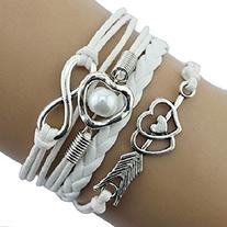 Doinshop Infinity Love Heart Pearl Friendship Antique