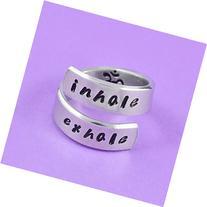 inhale exhale - Hand Stamped Aluminum Spiral Ring, Om Symbol
