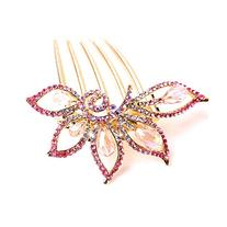 Fashion inlaid crystal alloy hair comb/hairdisk YD1529,pink