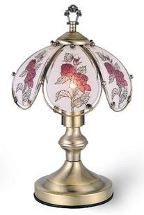 ORE International K317 Glass Roses Scene Touch Lamp, Antique