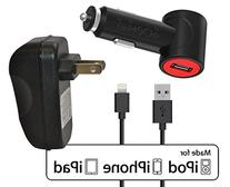 Ionic Pro Dual USB Car/Wall  Charger Adapter Bundle with 3-