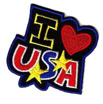 """""""I LOVE  USA""""//IRON ON EMBROIDERED PATCH-PATRIOTIC,PEACE,USA"""