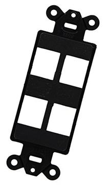 Hubbell ISF4BK iSTATION Decorator Frame Wall Plate, 4 Port,