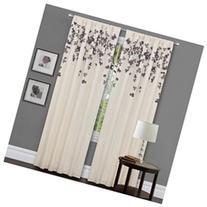 Ivory/ Purple Faux Silk 84-inch Flower Drop Curtain Panel