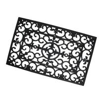 J & M Home Fashions Wrought Iron Natural Rubber Doormat, 24-