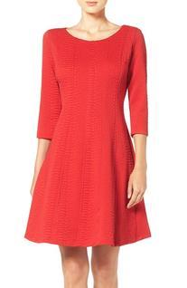 Women's Taylor Dresses Jacquard Knit Fit & Flare Dress, Size