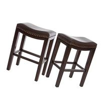 Jaeden Backless Brown Leather Counter Stools