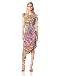 BCBGMAXAZRIA Women's Jenifer Asymmetrical Boat Neck Dress,
