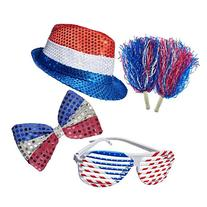 4th of July Set, Patriotic Sequin Blinking Hat, 4th of July