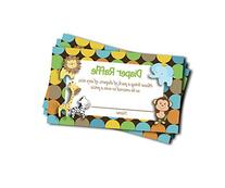 Jungle Printed Diaper Raffle Tickets Boy Neutral Baby Shower