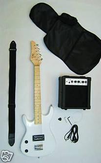 WHITE Junior Kids Mini 3/4 Electric Guitar Amp Starter Pack