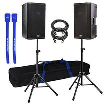 "QSC K10 Pair 10"" 1000-Watt Powered Speakers w/ Stands &"