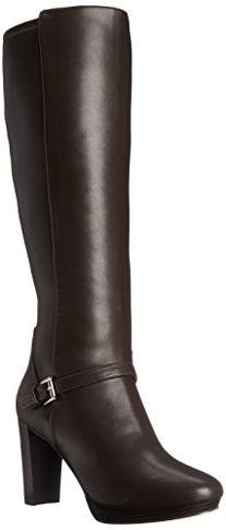 Nine West Women's Kacie Synthetic Knee High Boot, Dark Brown
