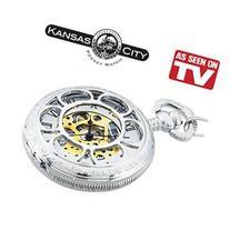 Kansas City Railroad Pocket Watch Silver: Battery Free,