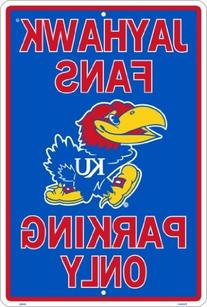 KANSAS JAYHAWKS Metal Parking Sign 12 x 18 embossed