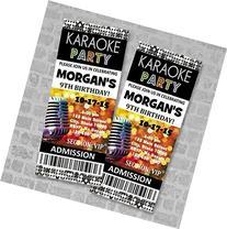 Karaoke Birthday Party Ticket Invitation, Custom Karaoke
