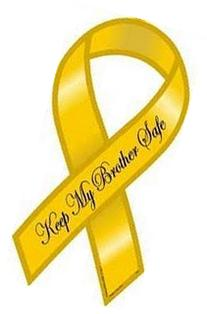 """Keep My Brother Safe - 4"""" x 8"""" Yellow Ribbon Magnet"""