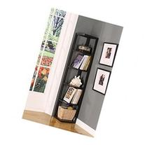 Kings Brand BK08 Wood Wall Corner 5-Tier Bookshelf Case