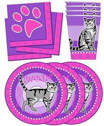 Kitty Cat Pink Kitten Birthday Party Supplies Set Plates