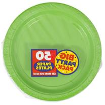 Kiwi Green Paper Plate Big Party Pack, 50 Ct