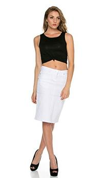 Up To My Knees High Waisted Denim Pencil Skirt in White