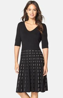 Women's Taylor Dresses Knit Fit & Flare Sweater Dress, Size