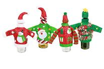 Set of 4 Knit Ugly Sweater Wine Bottle Covers Christmas