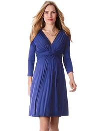 Seraphine Maternity Women's Front Knot Dress 3/4 sleeve-1