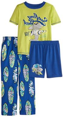 Komar Kids Little Boys' Surfing Shark 3 Piece Pajama Set,