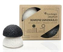 Pure Konjac Activated Charcoal Facial Sponge   2 Pack for