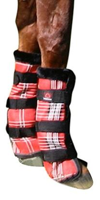 Kensington KPP Protective Fly Boots, Deluxe Red Plaid, Horse