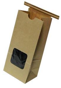 Kraft 1/2 Lb. Tin Tie Bakery Bag w/ Square Window - 50 Pack