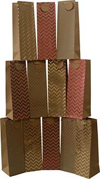 Kraft paper wine bags, set of 12 bags, hot stamp designs, 14