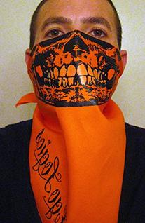 krupt orange Black Skull BANDANA FACE MASK wITH Glow teetH