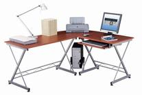 Techni Mobili Modern L Shape Corner Desk with Pull Out