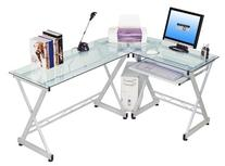 Techni Mobili L-shaped Glass Computer Desk Clear