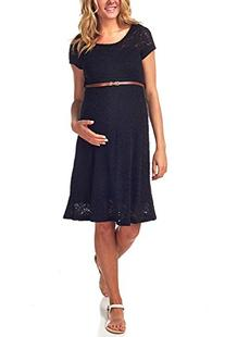 PinkBlush Maternity Black Lace Belted Maternity Dress, Large