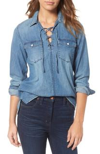Women's Madewell Lace-Up Denim Shirt, Size Large - Blue