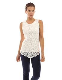 PattyBoutik Women's Lace Front Overlay Lined Tank Top
