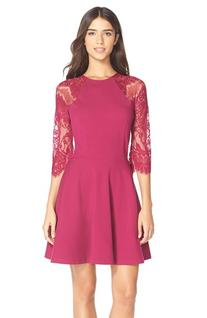 Women's Bb Dakota 'Yale' Lace Panel Fit & Flare Dress, Size