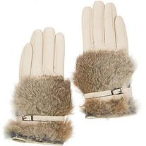 Women's Lambskin Leather Gloves with Rabbit Fur Trim