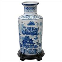 "Oriental Furniture 12"" Landscape Vase in Blue and White"