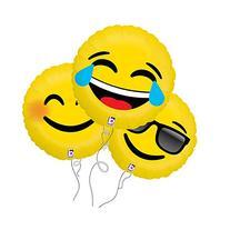 Laugh, Smile, Too Cool Assorted Emoji Mylar Balloon 3pk