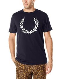 Fred Perry Men's Laurel Print T-Shirt, Navy Marl/Snow White