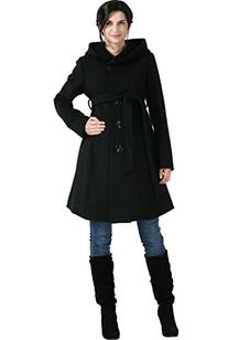 cadd62632ce9e Momo Maternity Women's Wool Blend Belted Coat with Hood-