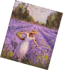 Lavender Field and Woman Landscape Art Print - Field of