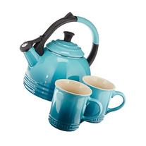 Le Creuset 3-pc. Stoneware Tea Kettle and Mug Set, Caribbean